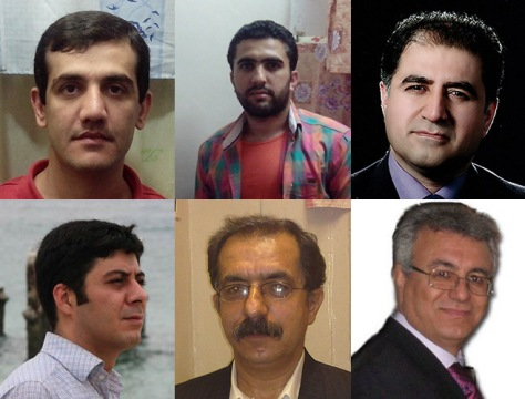 Prisonniers politiques iraniens. En haut (de gauche à droite) : Loghman Moradian, Zaniar Moradian et Kourosh Ziari. En bas (de gauche à droite) : Mansouri Masoud Bastani , Mohammad Ali (Pirouz) et Saeed Rezaei. © Privé