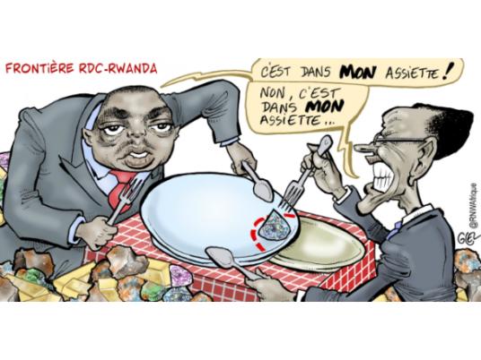 """""""Question Frontalière RDC - Rwanda"""", vue par un Caricaturiste (Ph. Damien GLEZ/RNW.NL)"""